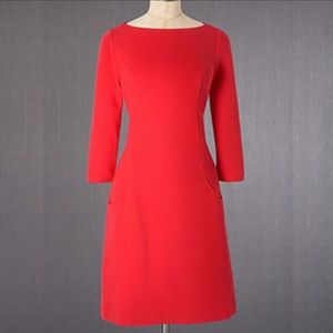 Boden Red Ottoman Shift Dress WH538